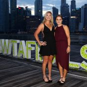 Ash Barty (R) and CoCo Vandeweghe in Singapore for the WTA Finals doubles draw ceremony; Getty Images