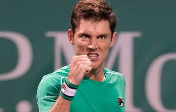 Matt Ebden celebrates during his second-round victory over sixth seed Dominic Thiem at the Shanghai Masters; Getty Images