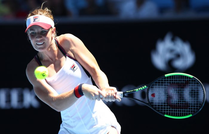 MELBOURNE, AUSTRALIA - JANUARY 17:  Olivia Rogowska of Australia plays a backhand in her second round match against Katerina Siniakova of the Czech Republic on day three of the 2018 Australian Open at Melbourne Park on January 17, 2018 in Melbourne, Australia.  (Photo by Cameron Spencer/Getty Images)