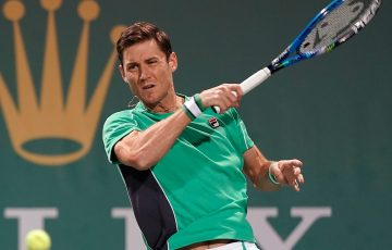 Matt Ebden in action during his win over Peter Gojowczyk at the ATP Shanghai Masters; Getty Images