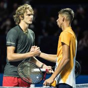 Alexei Popyrin (R) shakes hands with Alexander Zverev following their second-round match at the Swiss Indoors in Basel; Getty Images