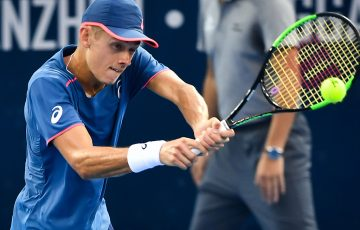 Alex De Minaur of Australia hits a return during his men's singles semi-final match against Pierre-Hugues Herbert of France at the ATP Shenzhen Open tennis tournament in Shenzhen in south China's Guangdong province on September 29, 2018. (Photo by - / AFP) / China OUT        (Photo credit should read -/AFP/Getty Images)
