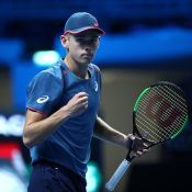 Alex De Minaur celebrates his victory at the Next Gen ATP Finals; Getty Images