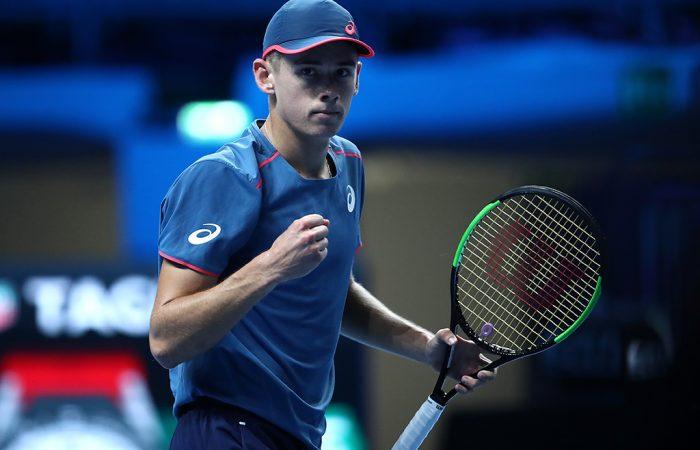 Alex De Minaur celebrates his victory at the Next Gen ATP Finals; Getty Images