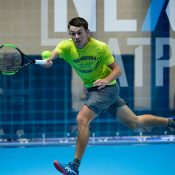 Ale De Minaur trains in Milan ahead of the Next Gen ATP Finals (photo credit: Peter Staples/ATPWorldTour.com)