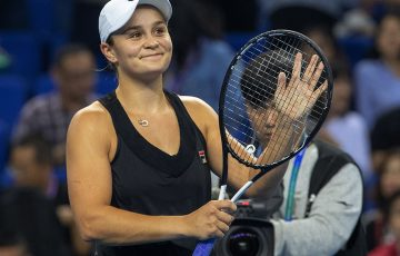 Ash Barty celebrates her semifinal victory over Julia Goerges at the WTA Elite Trophy in Zhuhai; Getty Images