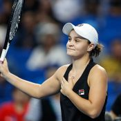 Ash Barty acknowledges the Zhuhai crowd after beating Caroline Garcia in straight sets at the WTA Elite Trophy (Getty Images)