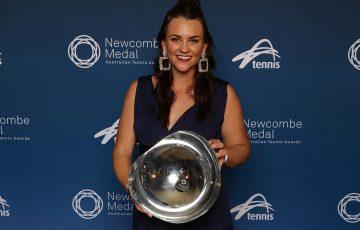 Casey Dellacqua poses with her Spirit of Tennis Award at the Newcombe Medal, Australian Tennis Awards at Melbourne's Palladium Ballroom; Andrew Tauber/Tennis Australia
