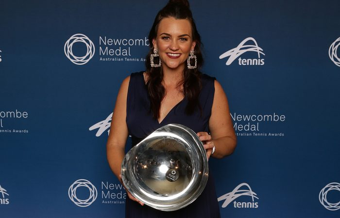 Casey Dellacqua poses with her Spirit of Tennis Award at the Newcombe Medal, Australian Tennis Awards at Melbourne's Palladium Ballroom; Andrew Tauber/Tennis Australia