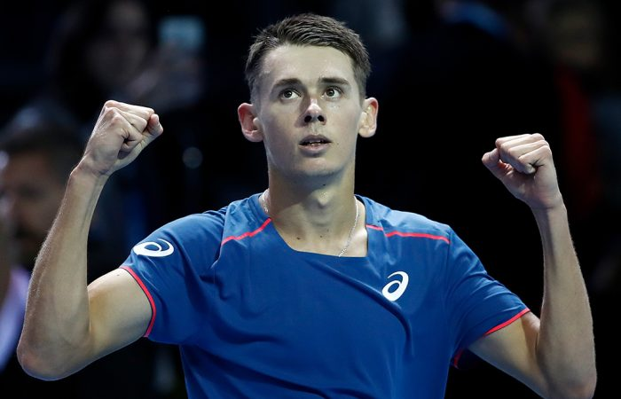 Alex De Minaur celebrates another victory at the Next Gen ATP Finals in Milan - this time over Andrey Rublev (Getty Images)