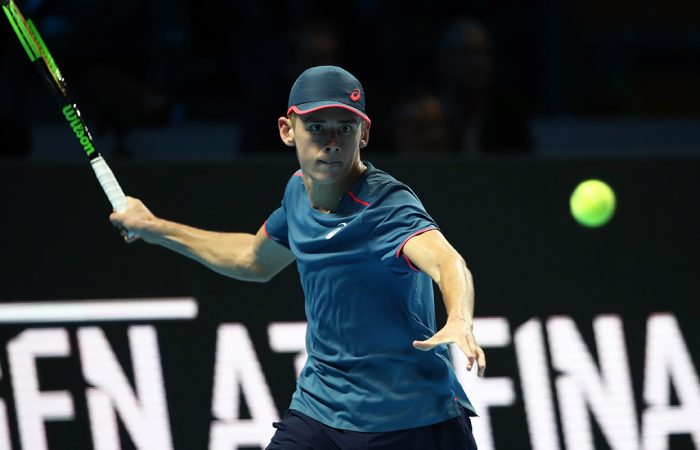 Alex de Minaur in action during his victory over Taylor Fritz at the Next Gen ATP Finals; Getty Images