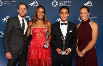 (L-R) John Millman, Destanee Aiava, Rinky Hijikata and Sam Stosur at the Newcombe Medal, Australian Tennis Awards (Andrew Tauber/Tennis Australia)