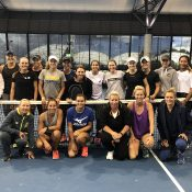 Casey Dellacqua (centre) joins several of Ausralia's top female tennis players at the Tennis Australia's WTA skills development camp in Melbourne.