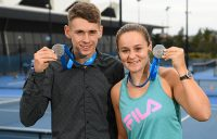 MELBOURNE, AUSTRALIA - NOVEMBER 27: Joint Newcombe Medal winners Alex de Minaur and Ashleigh Barty of Australia pose during a 2018 Newcombe Medal Media Opportunity at the National Tennis Centre on November 27, 2018 in Melbourne, Australia. (Photo by Quinn Rooney/Getty Images)