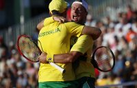 Australia's John Peers (L) celebrates with his teammate Lleyton Hewitt during their tennis double match against Austria's Oliver Marach/Juergen Melzer during the Davis Cup Playoff between Austria and Australia on September 15, 2018 in Graz, Austria. (Photo by ERWIN SCHERIAU / APA / AFP) / Austria OUT (Photo credit should read ERWIN SCHERIAU/AFP/Getty Images)