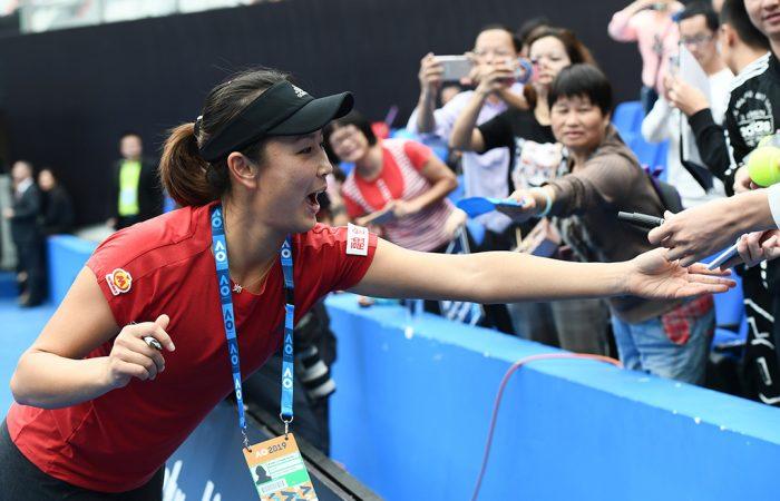 Shuai Peng celebrates victory. Photo; Elizabeth Bai