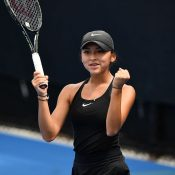 Anastasia Berezov celebrates her victory in the 16/u Australian Championships semifinals (photo: Elizabeth Xue Bai)