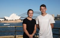 Ash Barty (L) and Alex De Minaur at the launch of the 2019 Sydney International (Getty Images)
