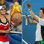 Ash Barty (L) and Matt Ebden celebrate their singles victories over France at the Hopman Cup (Getty Images)