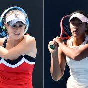 Kimberly Birrell (L) and Destanee Aiava have won through to the second round of the Brisbane International (photos: Elizabeth Xue Bai)