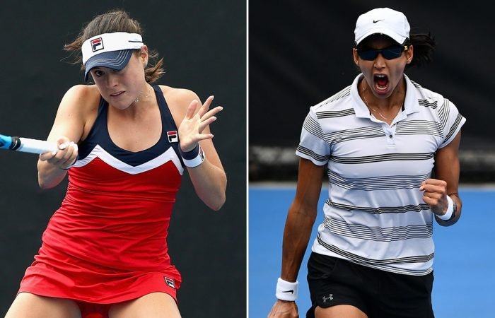 Kimberly Birrell (L) and Astra Sharma will battle for an Australian Open wildcard in the AO Play-off final (photos: Getty Images, Elizabeth Xue Bai)