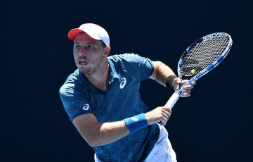 James Duckworth in action during his first-round win over Blake Ellis at the Australian Open Play-off at Melbourne Park (photo: Elizabeth Xue Bai)