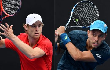 Luke Saville (L) and James Duckworth in action in the AO Play-off semifinals (photos: Elizabeth Xue Bai)