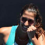 Jaimee Fourlis celebrates her first-round win over Maddison Inglis at the AO Play-off (photo: Elizabeth Xue Bai)