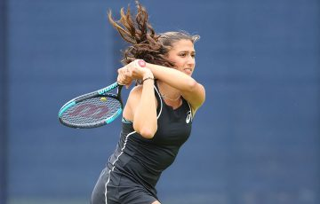 Jaimee Fourlis in action at the WTA tournament in Nottingham, UK (Getty Images)