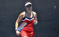 Kimberly Birrell in action during her AO Play-off first-round win over Gabriella Da Silva-Fick (photo: Elizabeth Xue Bai)