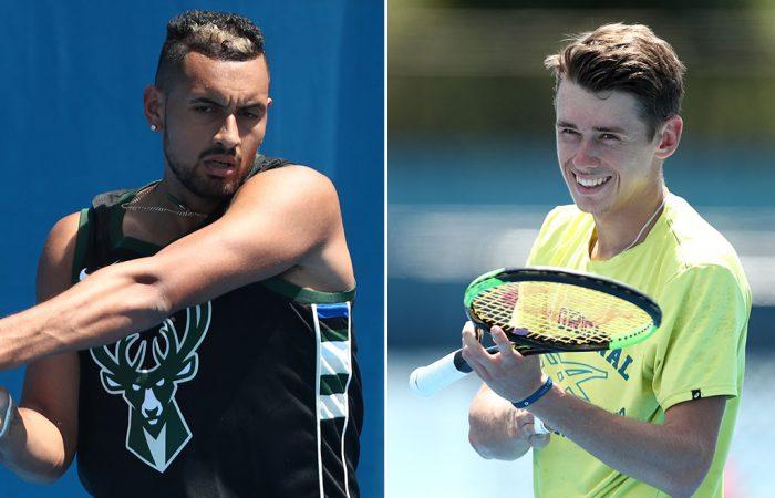 Nick Kyrgios (L) and Alex De Minaur train at the Brisbane International (Getty Images)
