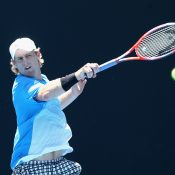 Luke Saville in action at the AO Play-off (Getty Images)
