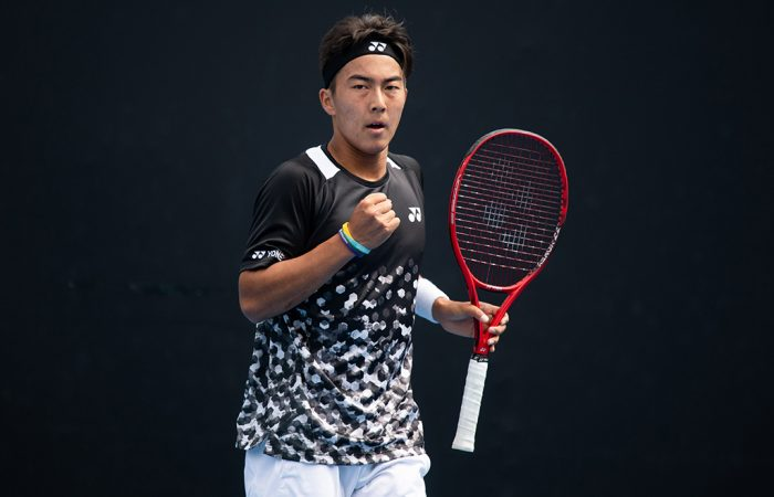 Rinky Hijikata in action during his victory over Chen Dong in the 18/u Australian Championships at the December Showdown (photo: Elizabeth Xue Bai)