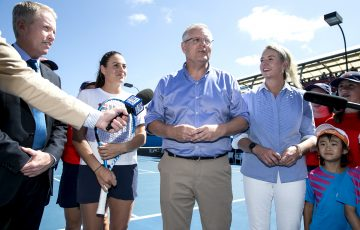 SUPPORTIVE: Prime Minister Scott Morrison, Australian player Kim Birrell, Senator Bridget McKenzie and Tennis Australia CEO Craig Tiley announcing the funding; Getty Images