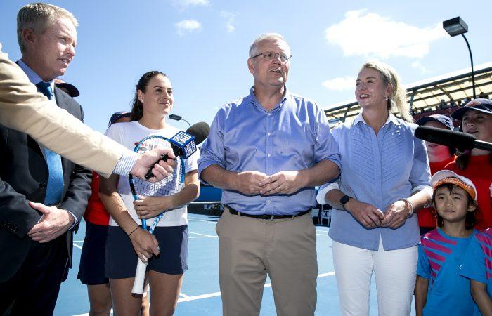 SUPPORTIVE: Prime Minister Scott Morrison, Australian player Kim Birrell, Senator Bridget McKenzie and Tennis Australia CEO Craig Tiley announcing the funding; Getty Images