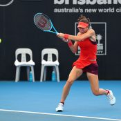 Ajla Tomljanovic in action during her first-round win over Katerina Siniakova at the Brisbane International (credit: Tennis Photo Network)