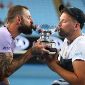 Dylan Alcott (R) and Heath Davidson celebrate their victory in the final of the Australian Open quad wheelchair doubles event (Getty Images)