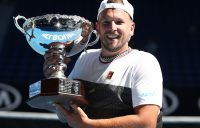 Dylan Alcott poses with his trophy after winning a fifth straight Australian Open title in Melbourne (Getty Images)