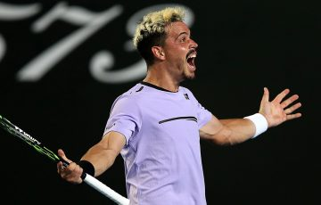 Alex Bolt celebrates his second-round win over Gilles Simon at the Australian Open (Getty Images)