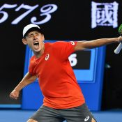 Alex De Minaur celebrates his second-round victory over Henri Laaksonen at the Australian Open (Getty Images)