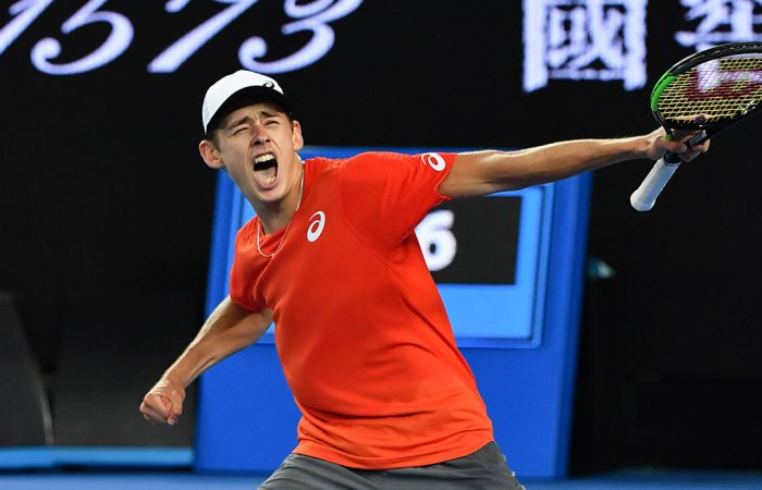 Alex De Minaur celebrates his second-round victory over Henri Laaksonen at the Australian Open (Getty Images)
