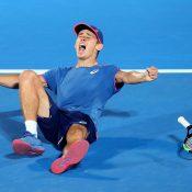 Alex De Minaur celebrates his victory at the Sydney International (Getty Images)