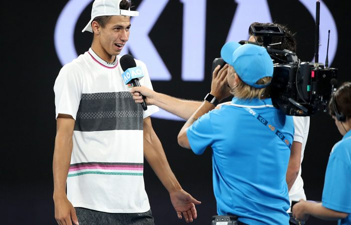 Alexei Popyrin is interviewed following his second-round win over Dominic Thiem at the Australian Open (Getty Images)
