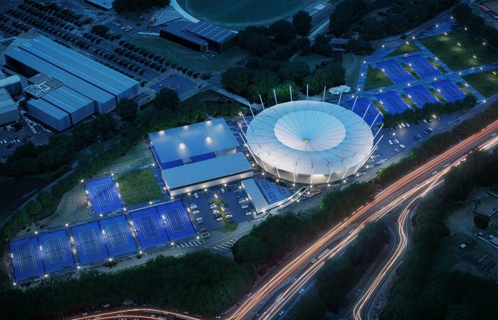An artist's impression of the Sydney Olympic Park Tennis Centre upgrade, including a roof over Ken Rosewall Arena.