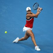 Ash Barty in action during her singles victory over Garbine Muguruza at the Hopman Cup (Getty Images)