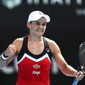 Ash Barty celebrates her victory over world No.1 Simona Halep in the second round of the Sydney International (Getty Images)
