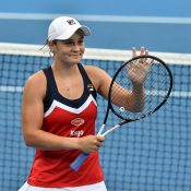 Ash Barty celebrates her victory over Elise Mertens to reach the Sydney International semifinals (Getty Images)