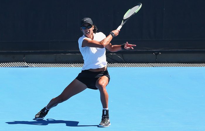 Astra Sharma in action during her Australian Open qualifying victory over No.1 seed Vera Zvonareva at Melbourne Park (Getty Images)