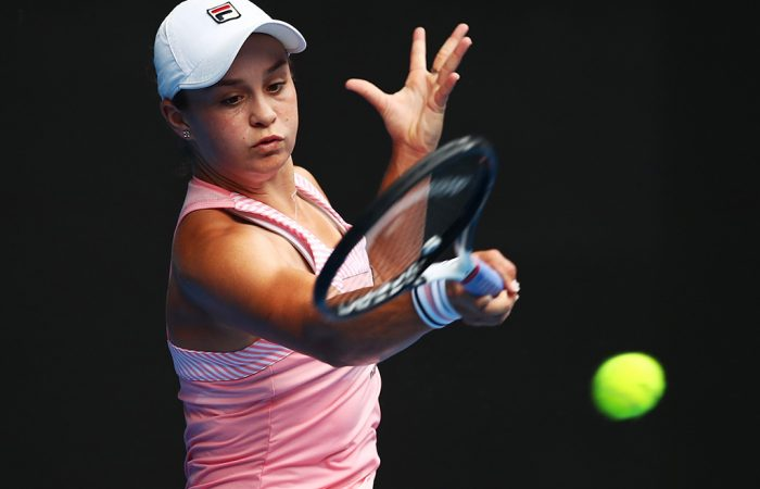 Ash Barty in action during her second-round victory over Wang Yafan at the Australian Open (Getty Images)