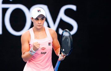 Ash Barty wins her first-round match at the Australian Open (Getty Images)